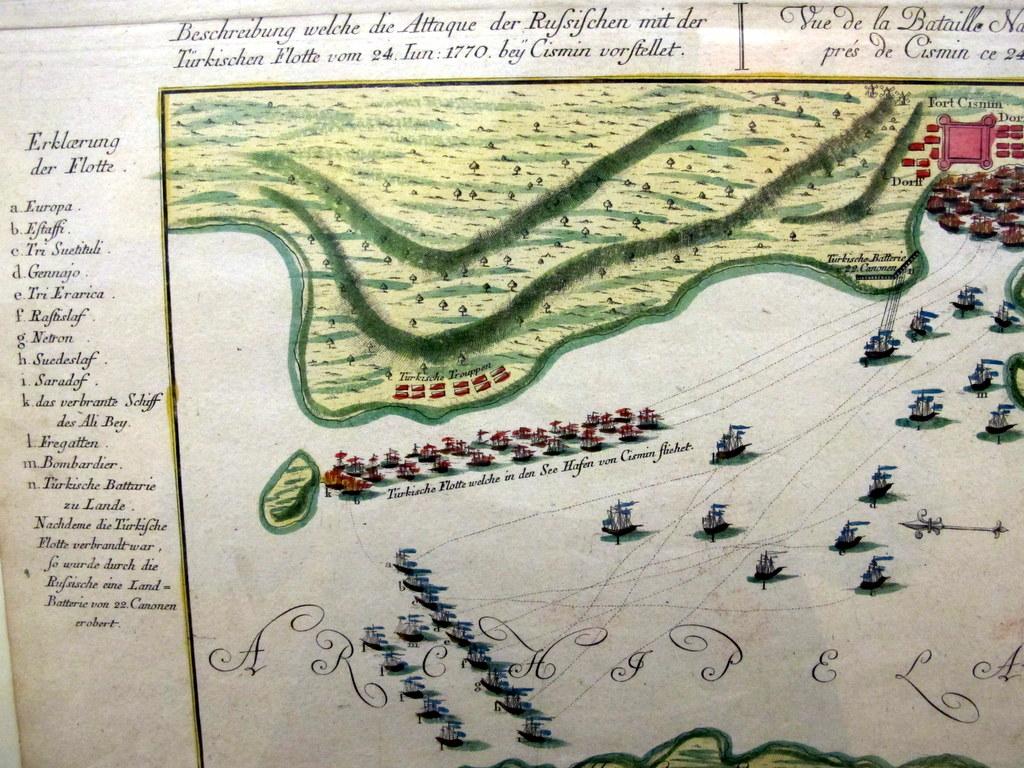 Beschreibung welche die Attacke der Russischen mit der Türkischen Flotte vom 24. Juni 1770 bei Cismin vorstellet