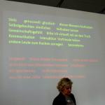 Meine erste Session: Ute Vogel (@frauvogel) 'Essen, Kulinarik - Design im Internet' oder so ähnlich. Passend vor der Mittagspause!